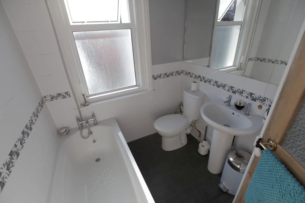 The shared bath/shower room.