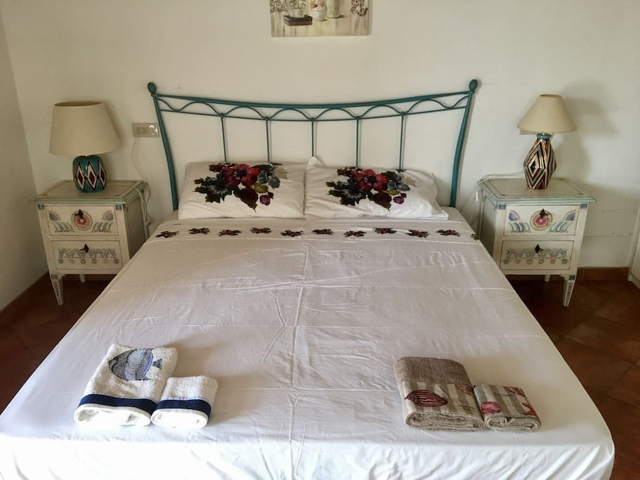 Beautiful double bed with large window