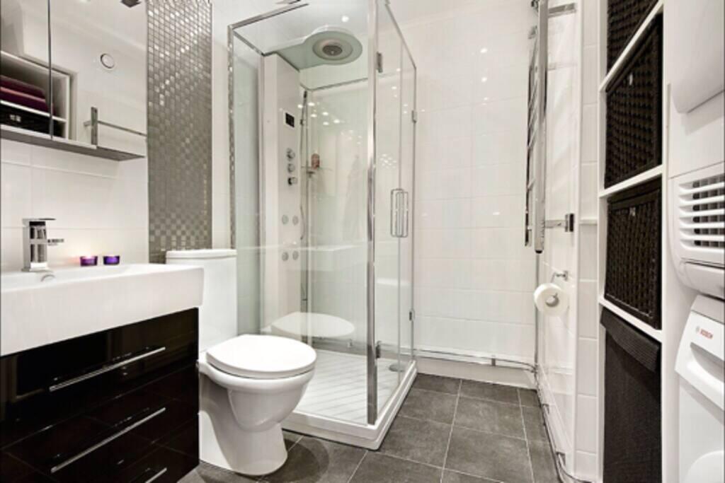 Bathroom with steam shower!