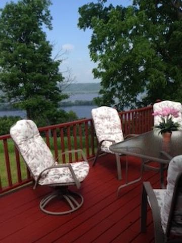 Beautiful patio with gorgeous view of the Mississippi River Valley.