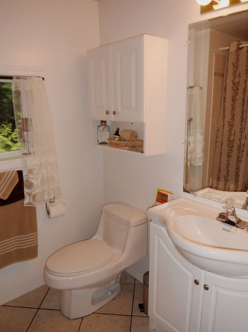 The upstairs Guest Bath, steps away from the Guest Room.