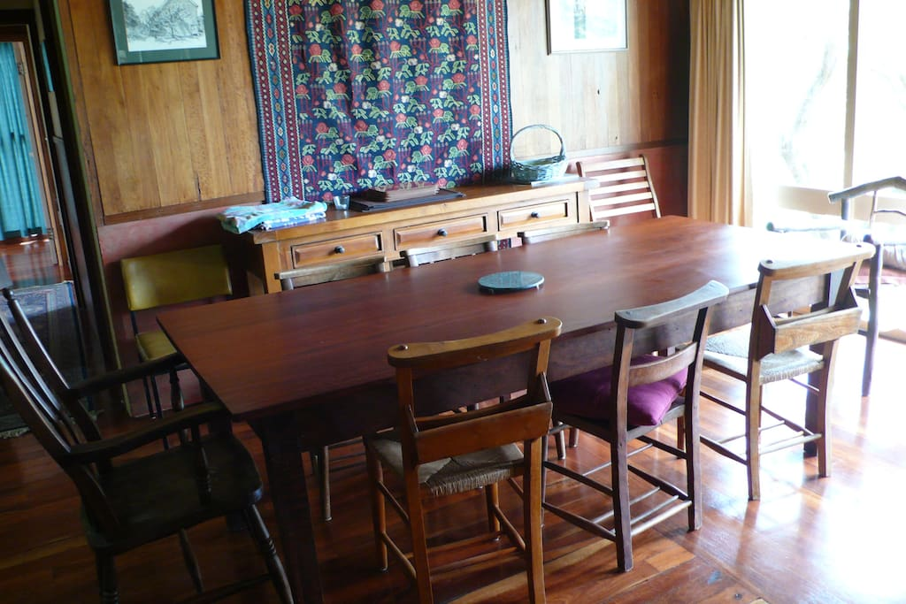 Dining room in farm house  - Jarrah table to seat 8 and jarrah floors