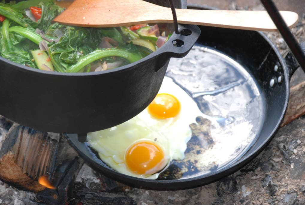 Cook the fresh eggs and vegetables from your welcome basket over the fire. We also have a farm shop where you can buy more tasty treats from the farm.