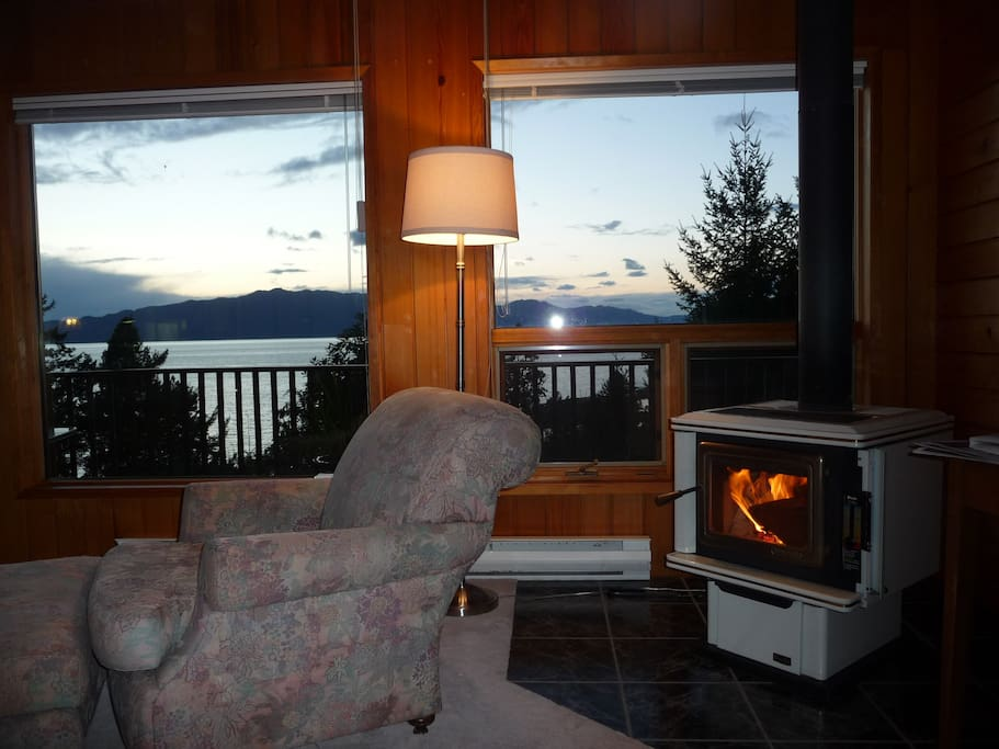 wood fired fireplace and sunset view