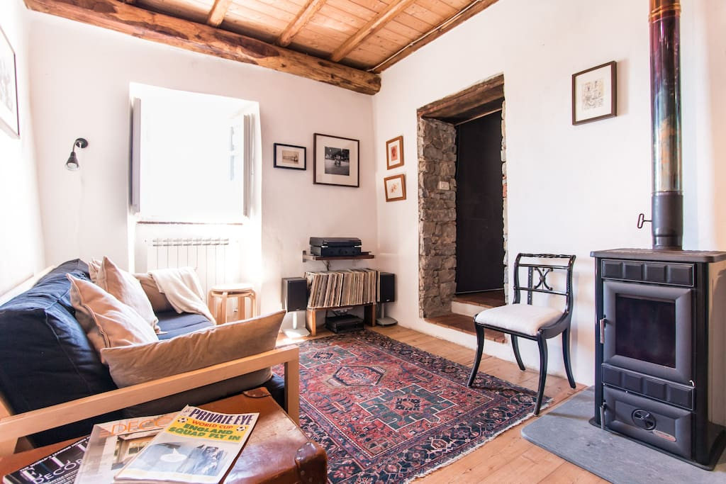 Living room and wood burning stove