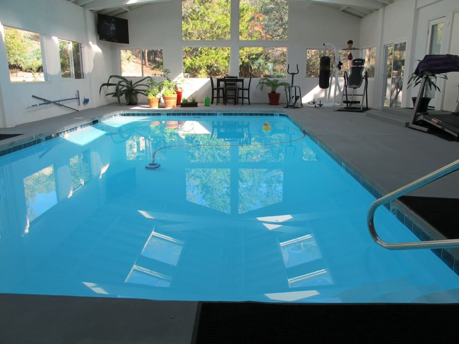 Indoor pool with exercise equipment