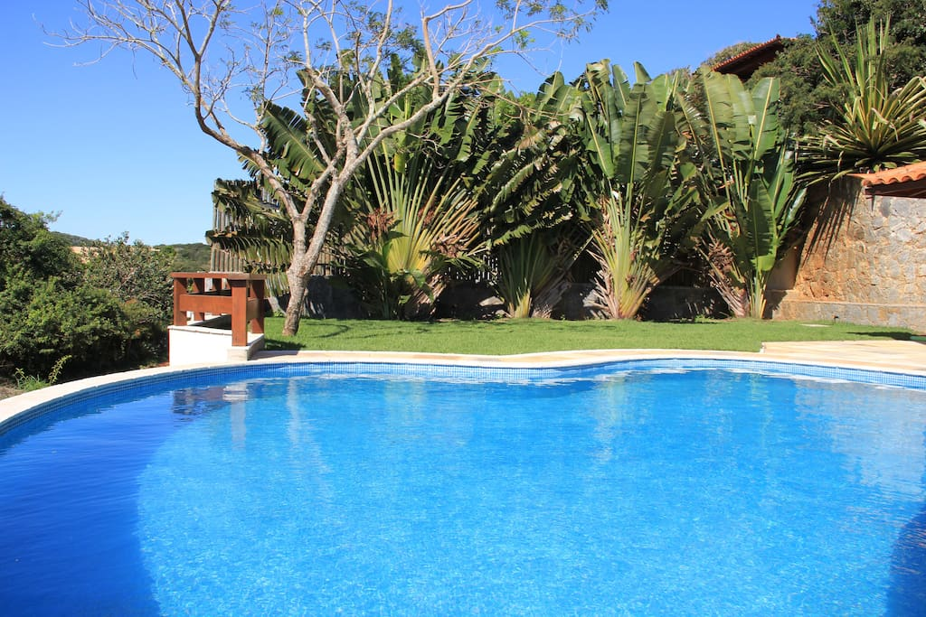 A spacious backyard surround the private pool.