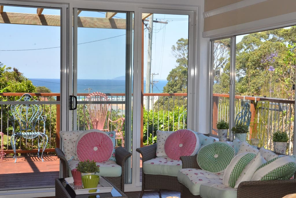 Beautiful ocean views from the deck and sitting room.