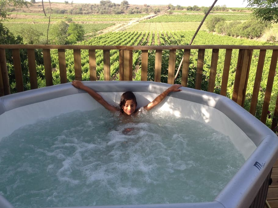 Relax in the Jacuzzi whilst overlooking the vineyards