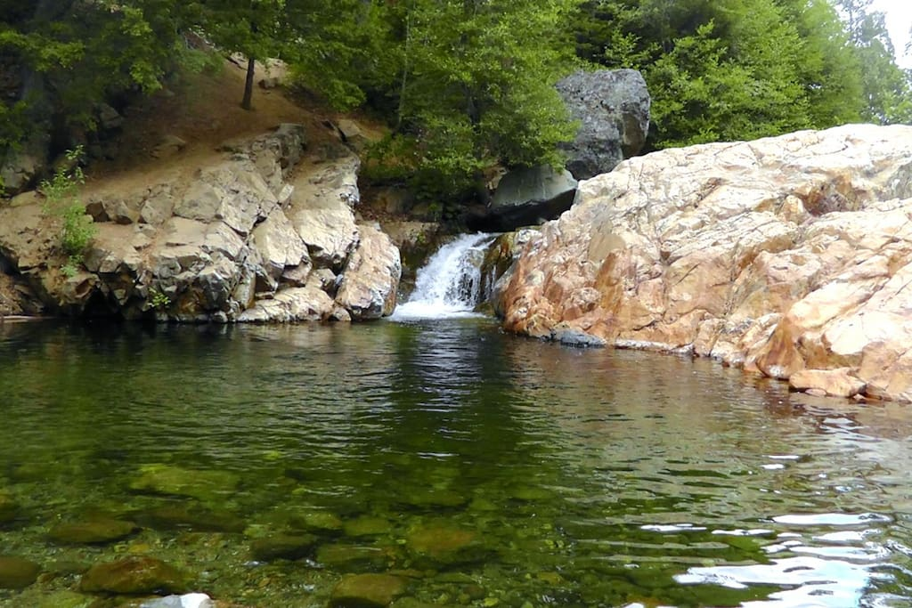 Great swimming hole with waterfall only 1/4 mile walk from cabin