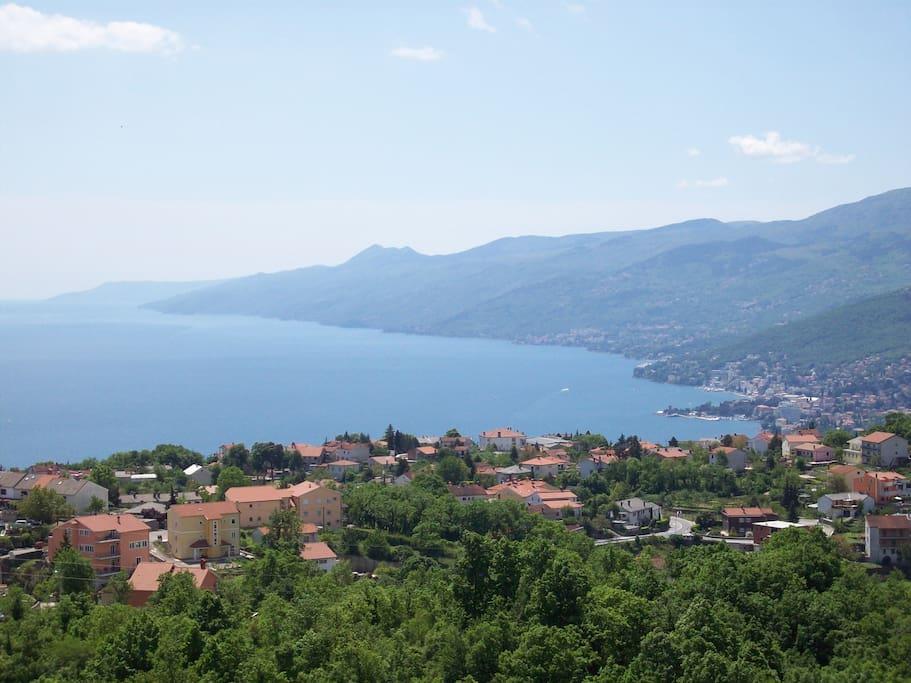 View from terrace to Opatija 5 km, Rijeka 12 km