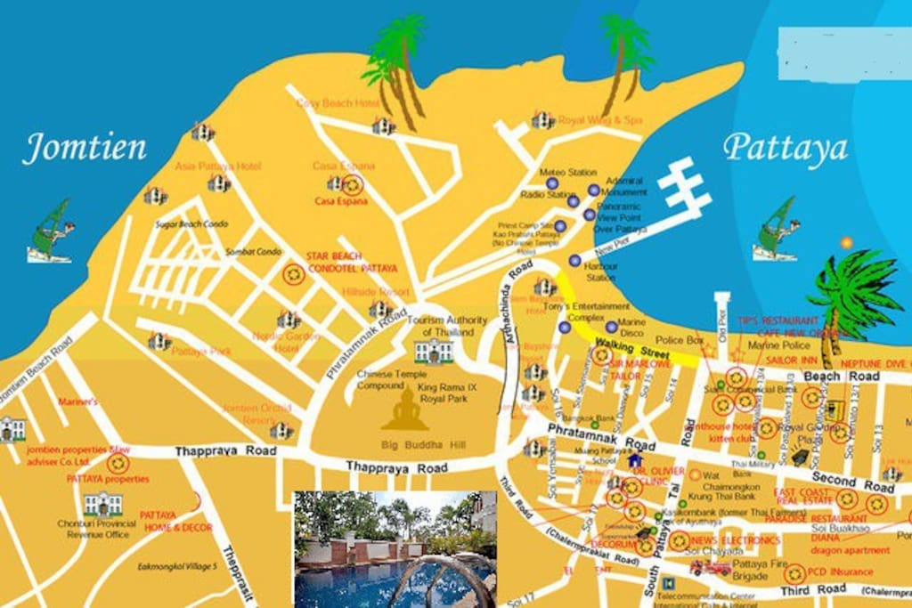 Villa is a few minutes from Walking Street and Beach.