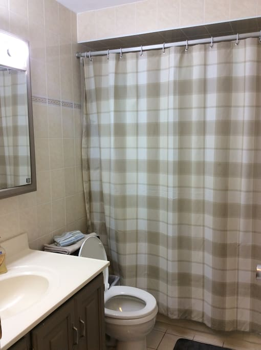 BATHROOM IS SHARED BUT ALWAYS KEPT CLEAN AND TIDY!   EXTRA POWDER ROOM ON MAIN LEVEL TOO.