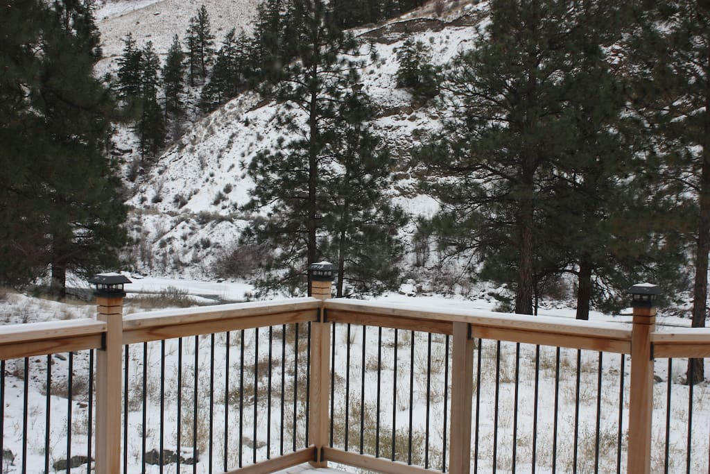 Deck railing.  This all wood deck was built just last year overlookibng the river.  Eagles pass by on a daily basis over the beautiful Nicola River...which is a stones throw from the deck...excellent spotting scope brings on the eagles nest on the other side of the river on the mountainside!