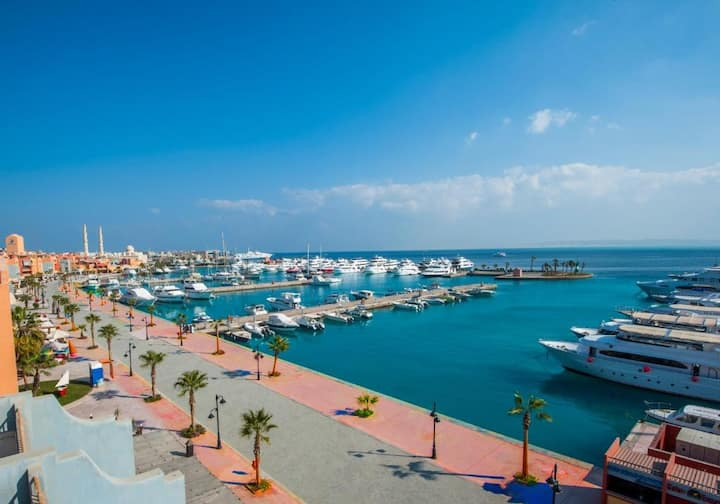 Sea View Studio Hurghada Marina Blue Beach Access