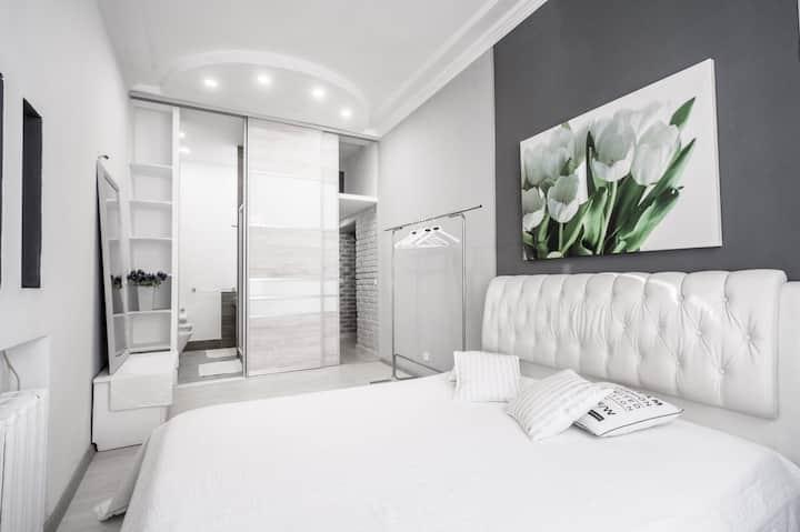 White apartment on Lenina street