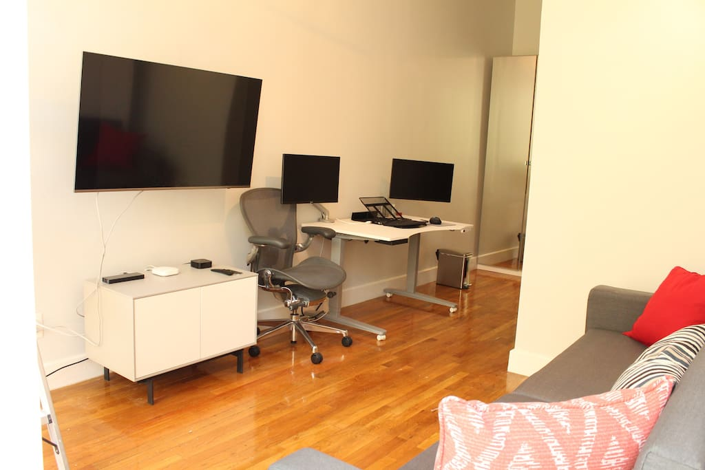 We provide a large flat-screen tv and two computer monitors for all your multimedia needs.