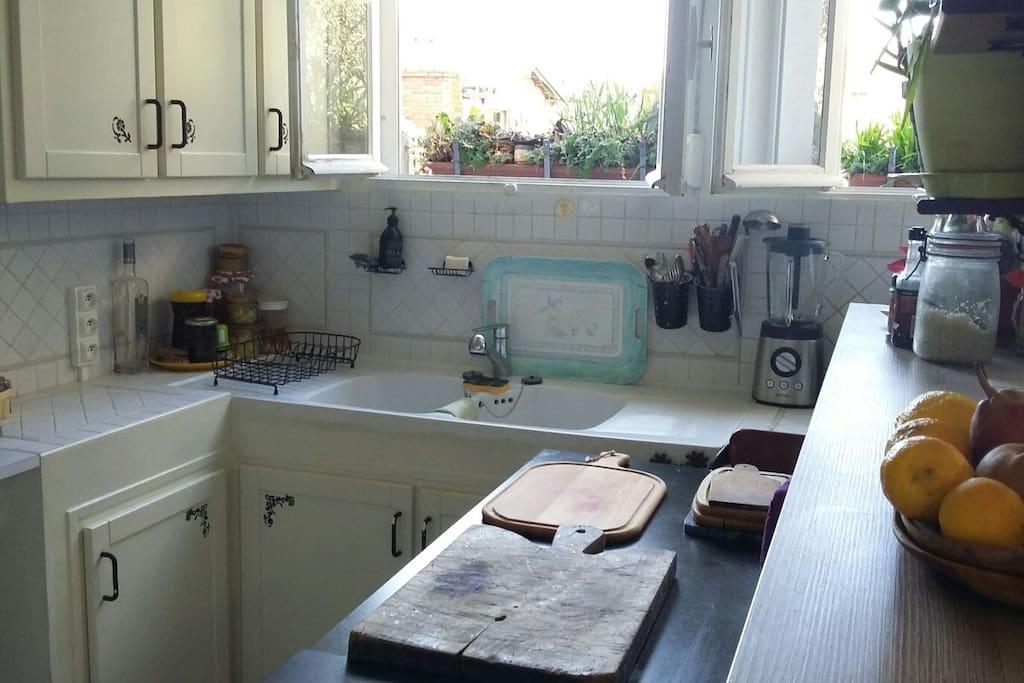 cuisine avec double évier, plan de travail, placards de rangement équipés assiettes, verres, couverts..., comptoir de séparation avec salle à manger et salon.