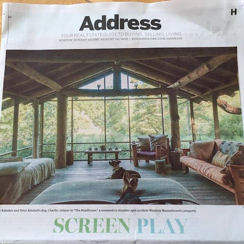 My feet and Charlie were in the Boston Globe!