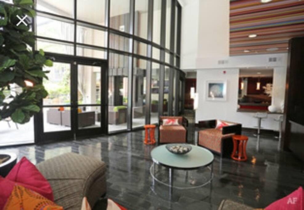 Chic lobby with free coffee/tea