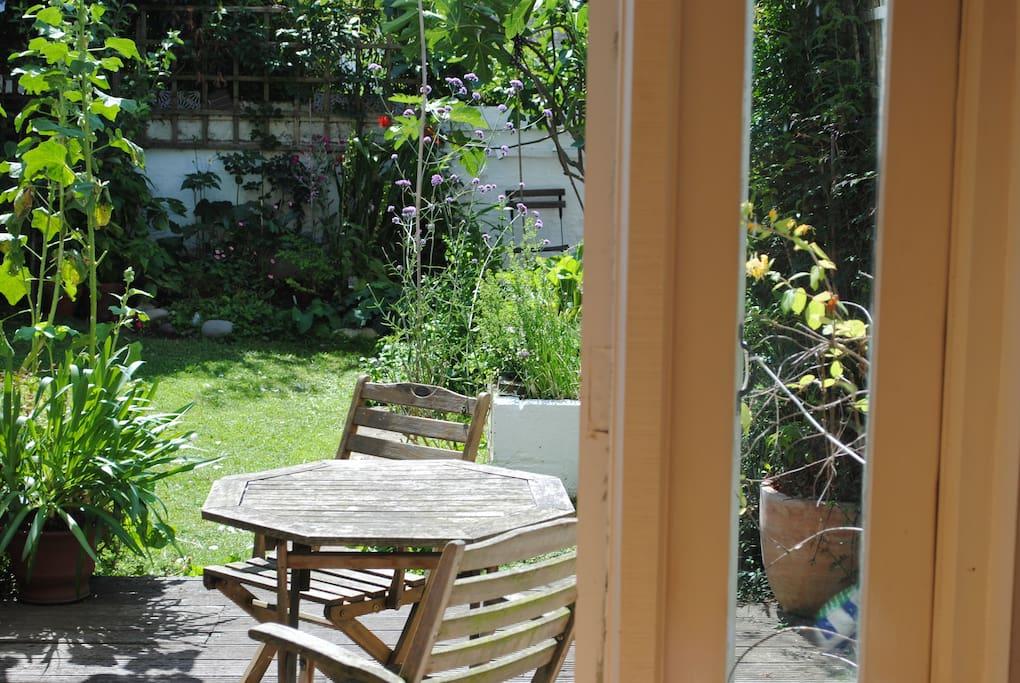 Deck and garden area