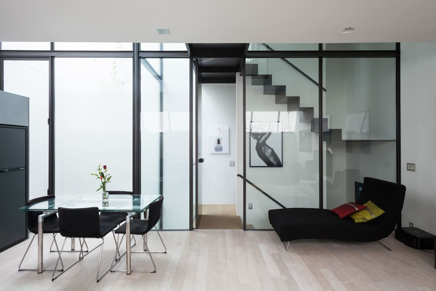 """The beautiful light filled open plan living, dining and kitchen room (""""LDK"""" in Japan). Furniture by Ligne Roset."""