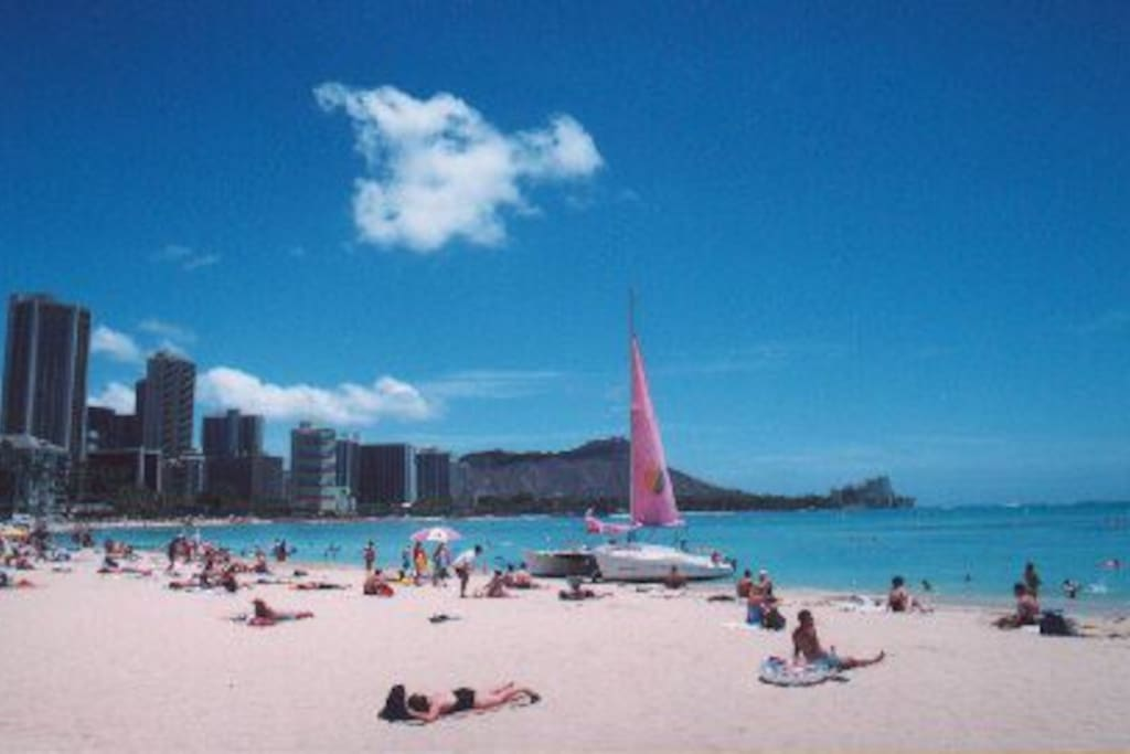 a picture of Waikiki Beach from the front of the building