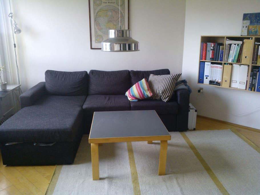 Sofaen er en sovesofa med plads til 2 personer, når den er slået ud. Den står overfor et tv, hvis man vil holde en enkelt filmaften hjemme.