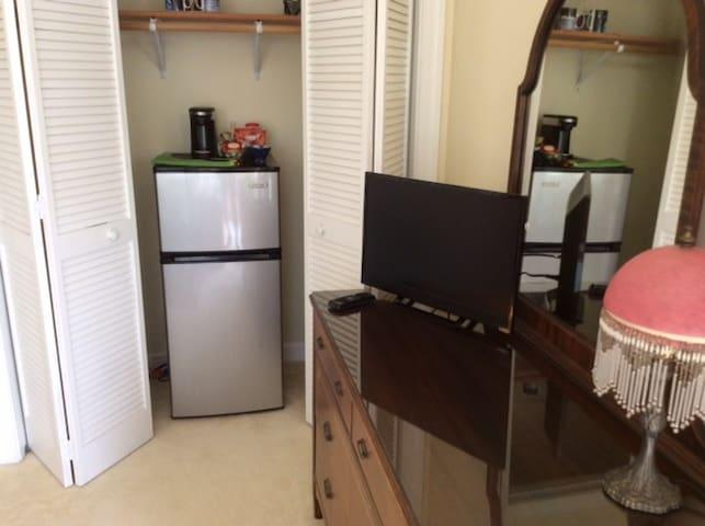 Large Mini-Fridge with Freezer and Smart TV