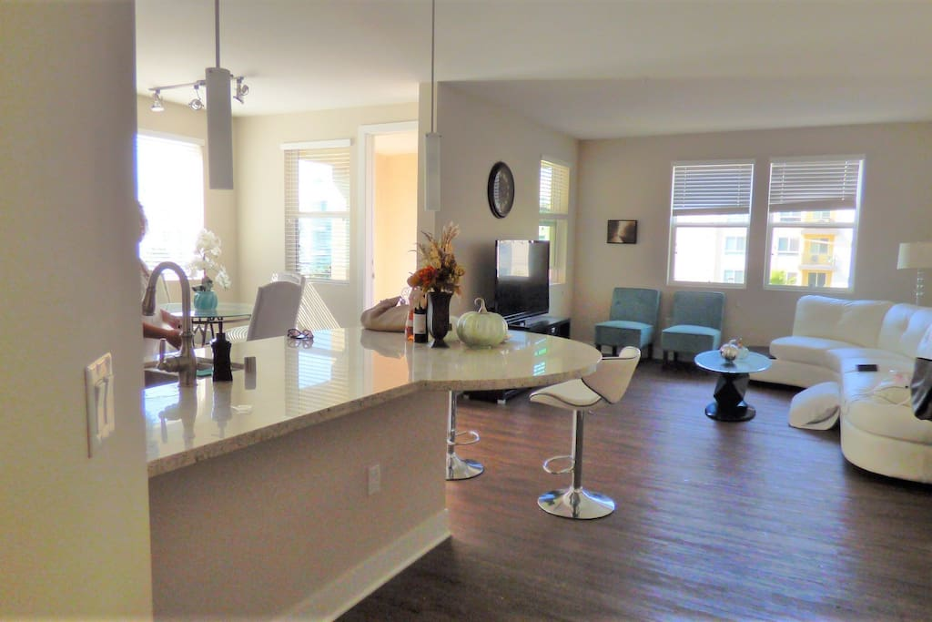 Open floor plan 1400 sqft. Countertop bar and dining area suits 8 guests.