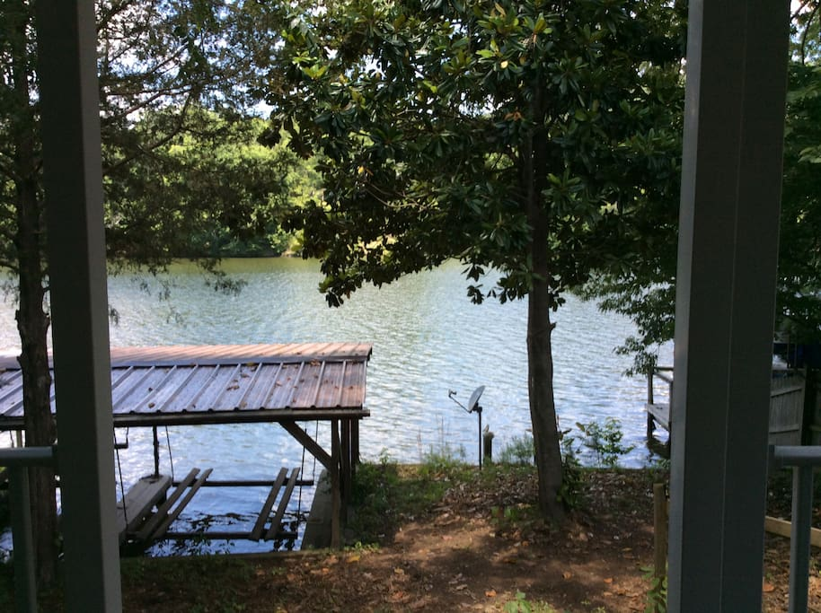 Private boat dock and canoe