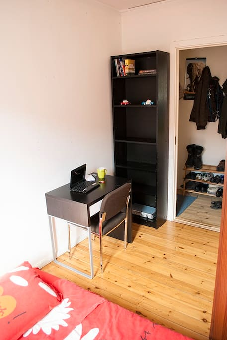 Small desk in the room so you are comfortable working on your computer or having coffee and food :)