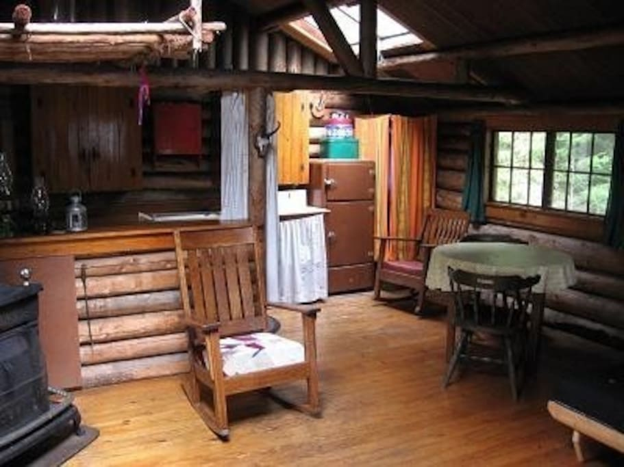 Inside this classic log cabin