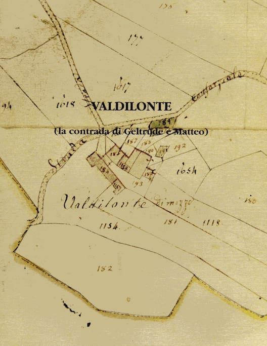 la contrada in una mappa d'avviso del 1817 nella copertina del libro che ne racconta la storia