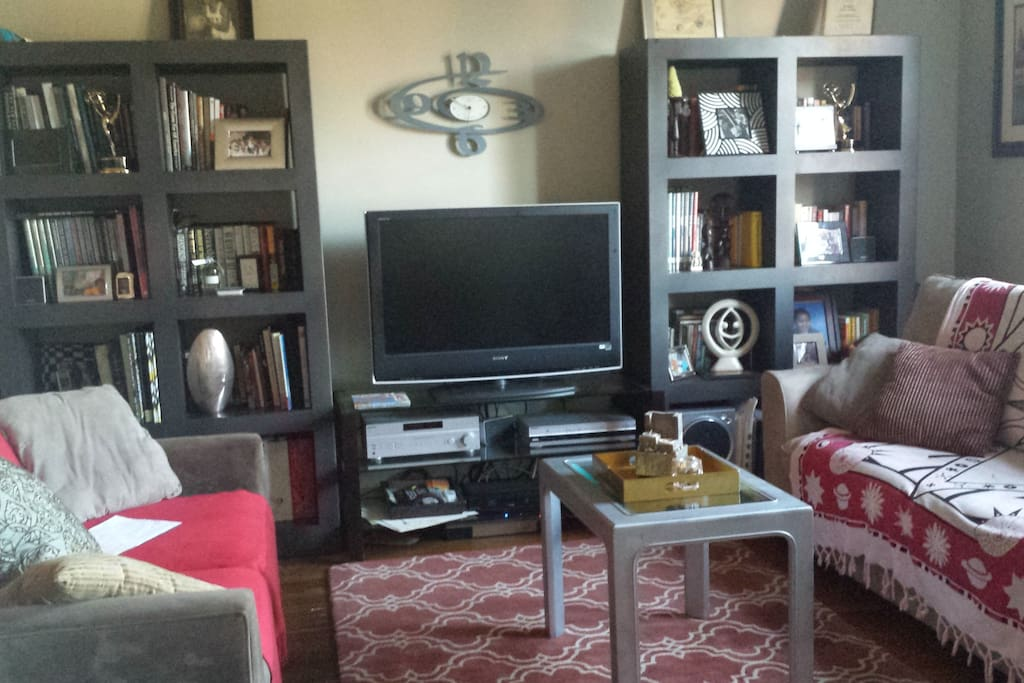 A complete Living Room including 2 sofas (one with a pullout bed) 40 inch flat screen HD TV.  Surround sound stereo system.