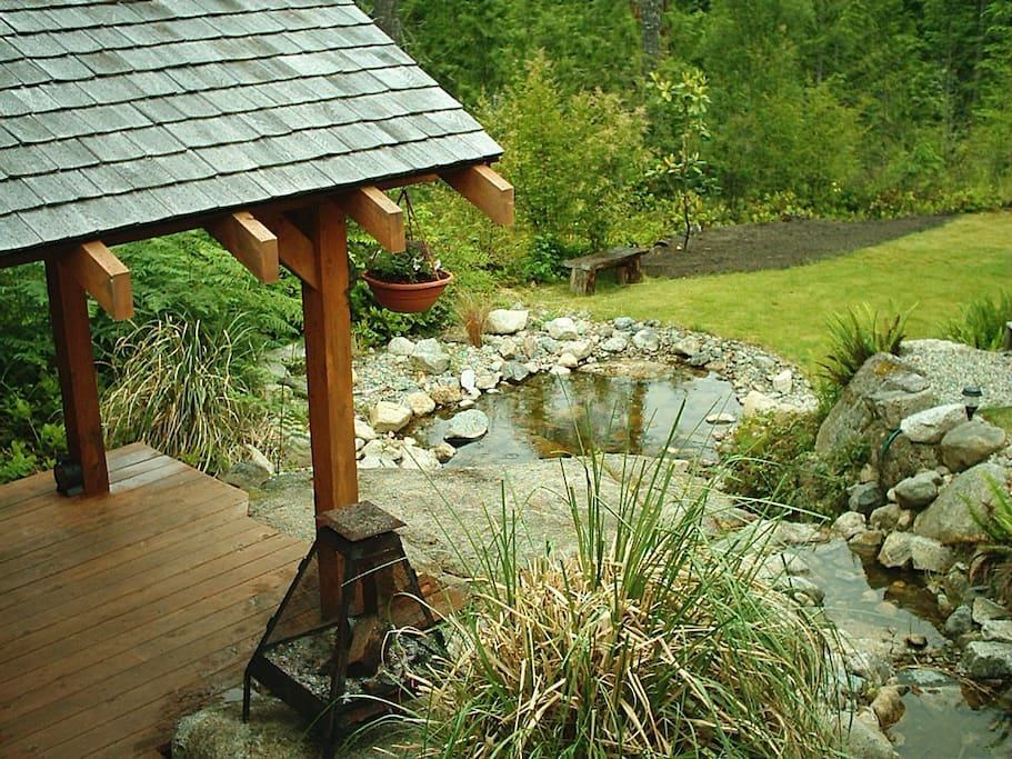 gazebo for reading and fish pond