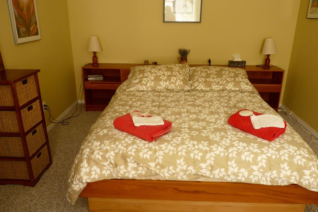 Comfortable queen bed.  Large private bedroom.