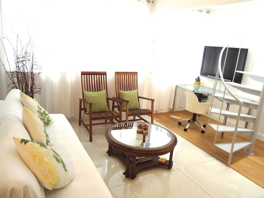 "Livingroom  with  flat screen tv 46 "" , international  channels, wifi , and access to  the private  rooftop terrace"