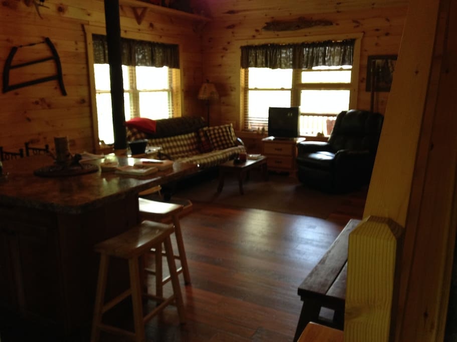 Knotty-pine walls and cathedral ceiling in great room, open to the kitchen. Furniture includes a futon and a leather recliner for relaxing.