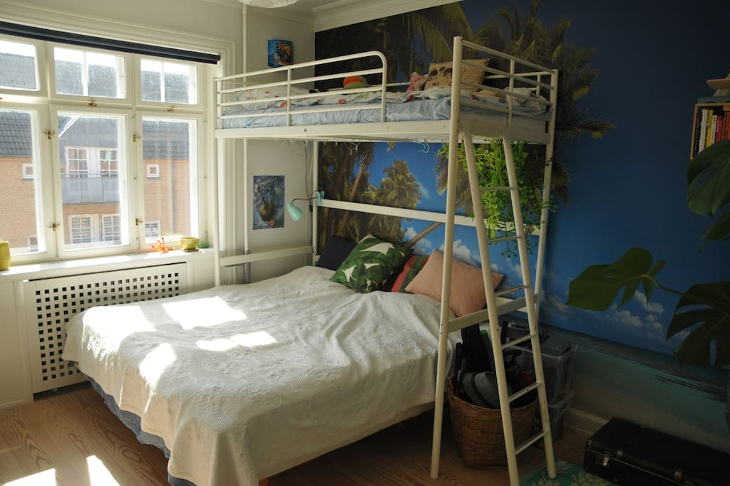 The bedroom has one comfortable double bed and one single bed above it, suitable for a child above six years old.