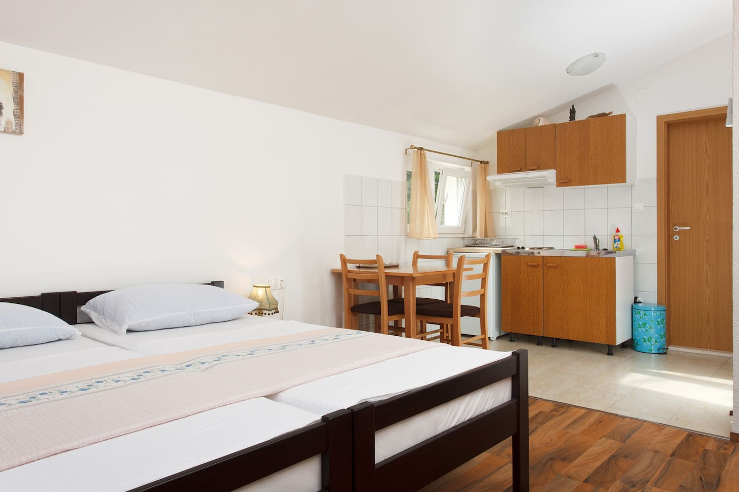 Two beds, small but fully equipped kitchenette