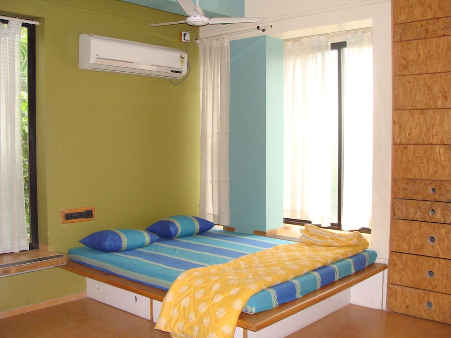 Bedroom with AC, attached bathroom and Storage