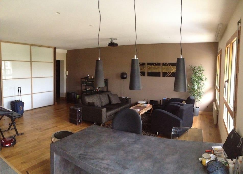 Le salon spacieux et lumineux avec une super vue