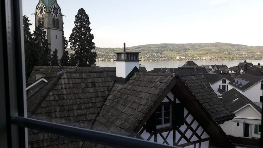 Room with lake view downtown Horgen