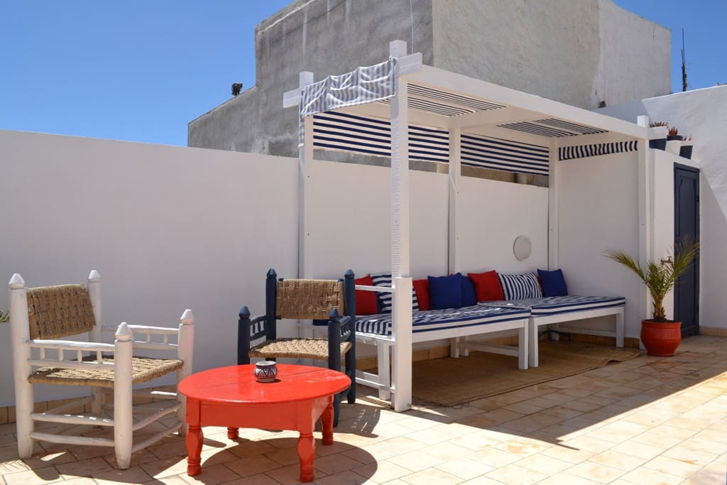 Nautical style terrace is one off in Essaouira!