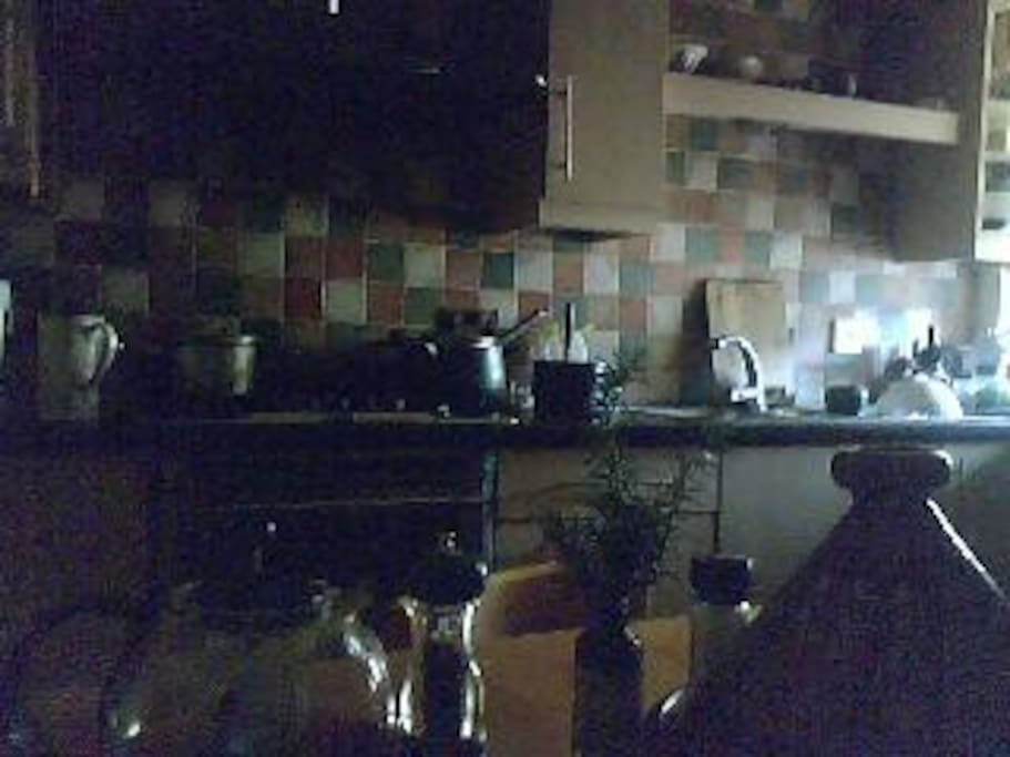 Eclectic kitchen with ayurvedic, vegetarian food prepared and cooked here........