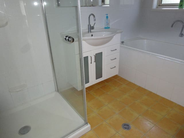 Main bathroom includes a spa bath and large shower, in-floor heating and vanity basin.