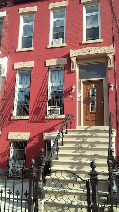 You will stay in a private brownstone apartment on ground level. Entrance door under the steps.