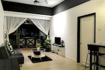 A complete living room with a nice and cozy sofa bed.. ^^