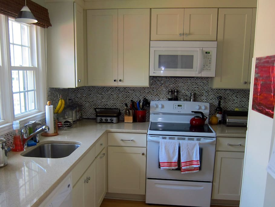 Kitchen is available for your use. I keep a variety of self-serve breakfast items stocked if you want to eat-in before starting your day. And you're welcome to store items in the refrigerator.